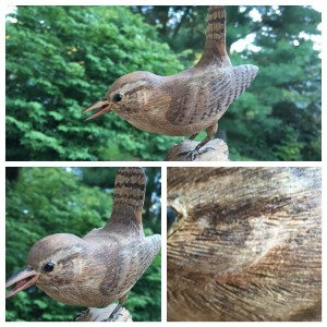 Photo of house wren carving
